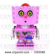 Clip Art of Retro 3d Curious Pink Female Robot Looking up by Stockillustrations