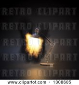 Clip Art of Retro 3d Desk Lamp Shining Fire, on Black by Mopic
