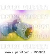Clip Art of Retro 3d Digital Camera over a Bokeh Flare Background by KJ Pargeter