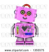 Clip Art of Retro 3d Friendly Pink Female Robot Tilting Her Head and Smiling by Stockillustrations