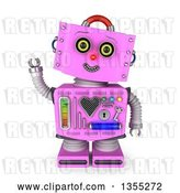 Clip Art of Retro 3d Friendly Pink Female Robot Tilting Her Head and Waving by Stockillustrations