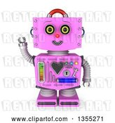 Clip Art of Retro 3d Friendly Pink Female Robot Waving by Stockillustrations
