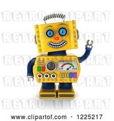 Clip Art of Retro 3d Friendly Waving Yellow Robot by Stockillustrations
