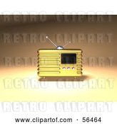 Clip Art of Retro 3d Gold Metal Radio - Version 1 by Julos