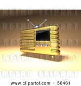Clip Art of Retro 3d Gold Metal Radio - Version 2 by Julos
