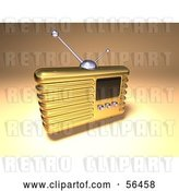 Clip Art of Retro 3d Gold Metal Radio - Version 3 by Julos