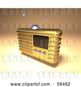 Clip Art of Retro 3d Gold Metal Radio - Version 4 by Julos