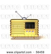 Clip Art of Retro 3d Gold Metal Radio - Version 5 by Julos