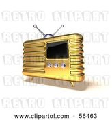 Clip Art of Retro 3d Gold Metal Radio - Version 6 by Julos