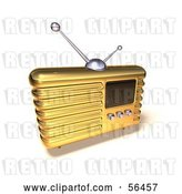 Clip Art of Retro 3d Gold Metal Radio - Version 7 by Julos