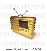 Clip Art of Retro 3d Gold Metal Radio - Version 8 by Julos