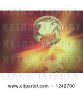 Clip Art of Retro 3d Golden Wire Earth Globe over Flares of Light by KJ Pargeter