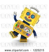 Clip Art of Retro 3d Goofy Yellow Robot by Stockillustrations