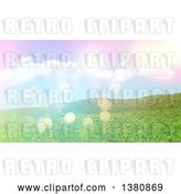Clip Art of Retro 3d Grassy Hill, with Flares by KJ Pargeter