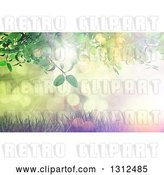 Clip Art of Retro 3d Green Leafy Vine over Grass and a Effect Sunset with Flares by KJ Pargeter