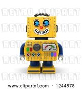 Clip Art of Retro 3d Grinning Yellow Robot Glancing to the Left by Stockillustrations