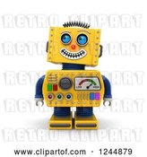 Clip Art of Retro 3d Grinning Yellow Robot Looking up by Stockillustrations