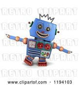 Clip Art of Retro 3d Happy Blue Robot Pretending to Be an Airplane by Stockillustrations
