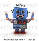 Clip Art of Retro 3d Happy Blue Robot with Both Arms up by Stockillustrations