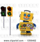 Clip Art of Retro 3d Happy Yellow Robot Glancing at Green Pedestrian Traffic Lights, on a White Background by Stockillustrations