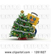Clip Art of Retro 3d Happy Yellow Robot Smiling Around a Christmas Tree, over White by Stockillustrations