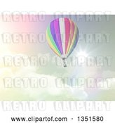 Clip Art of Retro 3d Hot Air Balloon Against a Cloudy Sky and Sunburst in Tones by KJ Pargeter