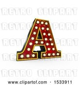 Clip Art of Retro 3d Illuminated Theater Styled Letter A, on a White Background by Stockillustrations