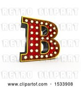 Clip Art of Retro 3d Illuminated Theater Styled Letter B, on a White Background by Stockillustrations