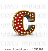 Clip Art of Retro 3d Illuminated Theater Styled Letter C, on a White Background by Stockillustrations