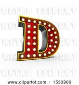 Clip Art of Retro 3d Illuminated Theater Styled Letter D, on a White Background by Stockillustrations