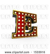 Clip Art of Retro 3d Illuminated Theater Styled Letter E, on a White Background by Stockillustrations