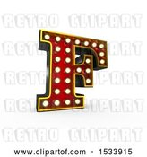 Clip Art of Retro 3d Illuminated Theater Styled Letter F, on a White Background by Stockillustrations