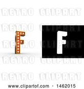 Clip Art of Retro 3d Illuminated Theater Styled Letter F, with Alpha Map for Isolation by Stockillustrations