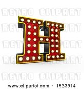 Clip Art of Retro 3d Illuminated Theater Styled Letter H, on a White Background by Stockillustrations