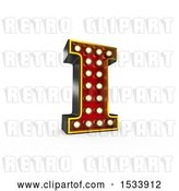 Clip Art of Retro 3d Illuminated Theater Styled Letter I, on a White Background by Stockillustrations