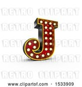 Clip Art of Retro 3d Illuminated Theater Styled Letter J, on a White Background by Stockillustrations
