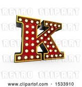 Clip Art of Retro 3d Illuminated Theater Styled Letter K, on a White Background by Stockillustrations