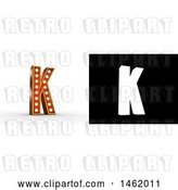 Clip Art of Retro 3d Illuminated Theater Styled Letter K, with Alpha Map for Isolation by Stockillustrations