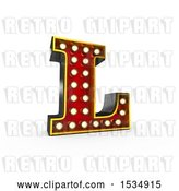 Clip Art of Retro 3d Illuminated Theater Styled Letter L, on a White Background by Stockillustrations