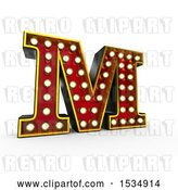 Clip Art of Retro 3d Illuminated Theater Styled Letter M, on a White Background by Stockillustrations