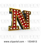 Clip Art of Retro 3d Illuminated Theater Styled Letter N, on a White Background by Stockillustrations