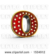 Clip Art of Retro 3d Illuminated Theater Styled Letter O, on a White Background by Stockillustrations