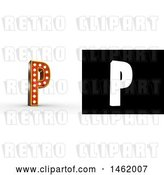 Clip Art of Retro 3d Illuminated Theater Styled Letter P, with Alpha Map for Isolation by Stockillustrations