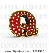 Clip Art of Retro 3d Illuminated Theater Styled Letter Q, on a White Background by Stockillustrations