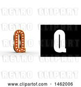 Clip Art of Retro 3d Illuminated Theater Styled Letter Q, with Alpha Map for Isolation by Stockillustrations