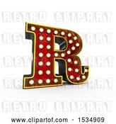Clip Art of Retro 3d Illuminated Theater Styled Letter R, on a White Background by Stockillustrations