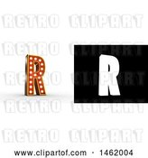 Clip Art of Retro 3d Illuminated Theater Styled Letter R, with Alpha Map for Isolation by Stockillustrations