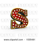 Clip Art of Retro 3d Illuminated Theater Styled Letter S, on a White Background by Stockillustrations