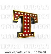 Clip Art of Retro 3d Illuminated Theater Styled Letter T, on a White Background by Stockillustrations