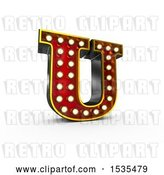 Clip Art of Retro 3d Illuminated Theater Styled Letter U, on a White Background by Stockillustrations